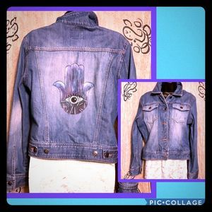 The Limited Hamsa Crop Denim Jacket